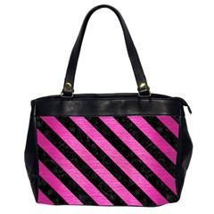 Stripes3 Black Marble & Pink Brushed Metal Office Handbags (2 Sides)  by trendistuff