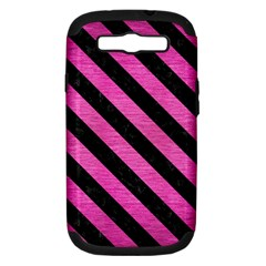 Stripes3 Black Marble & Pink Brushed Metal Samsung Galaxy S Iii Hardshell Case (pc+silicone) by trendistuff