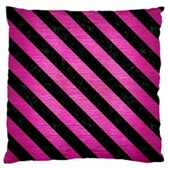 Stripes3 Black Marble & Pink Brushed Metal Standard Flano Cushion Case (one Side) by trendistuff