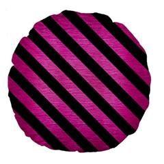 Stripes3 Black Marble & Pink Brushed Metal Large 18  Premium Flano Round Cushions by trendistuff