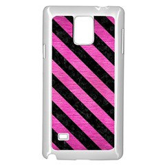 Stripes3 Black Marble & Pink Brushed Metal Samsung Galaxy Note 4 Case (white) by trendistuff