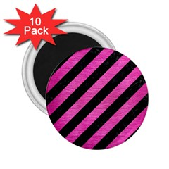 Stripes3 Black Marble & Pink Brushed Metal (r) 2 25  Magnets (10 Pack)  by trendistuff