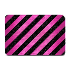 Stripes3 Black Marble & Pink Brushed Metal (r) Plate Mats by trendistuff