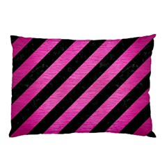 Stripes3 Black Marble & Pink Brushed Metal (r) Pillow Case by trendistuff