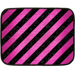 Stripes3 Black Marble & Pink Brushed Metal (r) Fleece Blanket (mini) by trendistuff