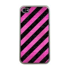 Stripes3 Black Marble & Pink Brushed Metal (r) Apple Iphone 4 Case (clear) by trendistuff