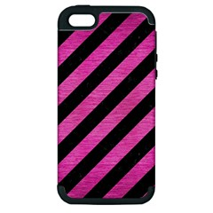 Stripes3 Black Marble & Pink Brushed Metal (r) Apple Iphone 5 Hardshell Case (pc+silicone) by trendistuff