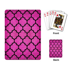 Tile1 Black Marble & Pink Brushed Metal Playing Card by trendistuff