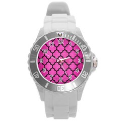 Tile1 Black Marble & Pink Brushed Metal Round Plastic Sport Watch (l) by trendistuff