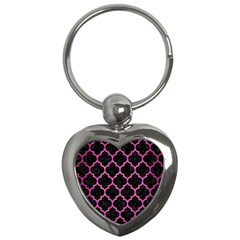 Tile1 Black Marble & Pink Brushed Metal (r) Key Chains (heart)  by trendistuff