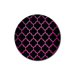 Tile1 Black Marble & Pink Brushed Metal (r) Rubber Round Coaster (4 Pack)  by trendistuff