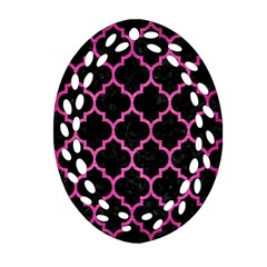 Tile1 Black Marble & Pink Brushed Metal (r) Ornament (oval Filigree) by trendistuff