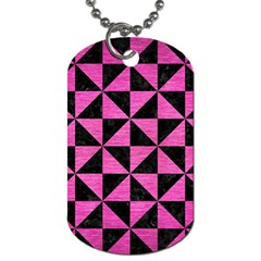 Triangle1 Black Marble & Pink Brushed Metal Dog Tag (two Sides) by trendistuff