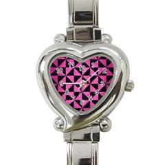 Triangle1 Black Marble & Pink Brushed Metal Heart Italian Charm Watch by trendistuff