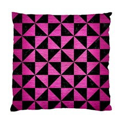 Triangle1 Black Marble & Pink Brushed Metal Standard Cushion Case (one Side) by trendistuff