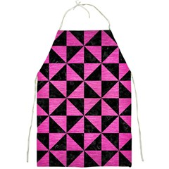 Triangle1 Black Marble & Pink Brushed Metal Full Print Aprons by trendistuff