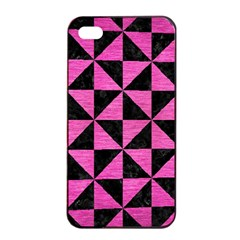 Triangle1 Black Marble & Pink Brushed Metal Apple Iphone 4/4s Seamless Case (black) by trendistuff