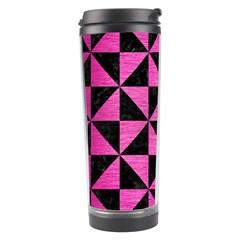 Triangle1 Black Marble & Pink Brushed Metal Travel Tumbler by trendistuff