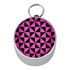 Triangle1 Black Marble & Pink Brushed Metal Mini Silver Compasses by trendistuff
