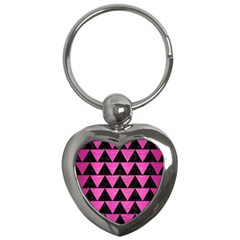 Triangle2 Black Marble & Pink Brushed Metal Key Chains (heart)  by trendistuff