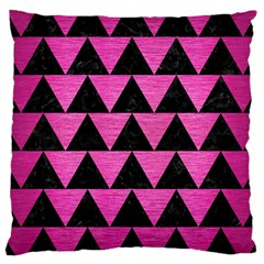 Triangle2 Black Marble & Pink Brushed Metal Large Cushion Case (two Sides) by trendistuff