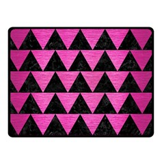 Triangle2 Black Marble & Pink Brushed Metal Double Sided Fleece Blanket (small)  by trendistuff