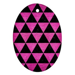 Triangle3 Black Marble & Pink Brushed Metal Ornament (oval) by trendistuff