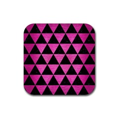 Triangle3 Black Marble & Pink Brushed Metal Rubber Coaster (square)  by trendistuff