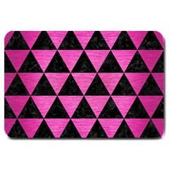 Triangle3 Black Marble & Pink Brushed Metal Large Doormat  by trendistuff