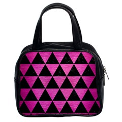 Triangle3 Black Marble & Pink Brushed Metal Classic Handbags (2 Sides) by trendistuff