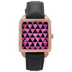 Triangle3 Black Marble & Pink Brushed Metal Rose Gold Leather Watch  by trendistuff