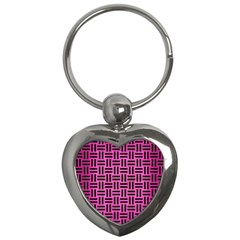 Woven1 Black Marble & Pink Brushed Metal Key Chains (heart)  by trendistuff