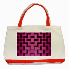 Woven1 Black Marble & Pink Brushed Metal Classic Tote Bag (red) by trendistuff
