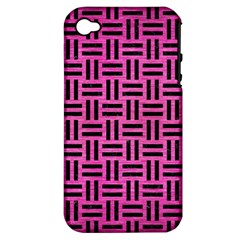 Woven1 Black Marble & Pink Brushed Metal Apple Iphone 4/4s Hardshell Case (pc+silicone)