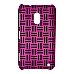 Woven1 Black Marble & Pink Brushed Metal Nokia Lumia 620 by trendistuff