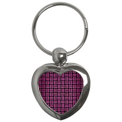 Woven1 Black Marble & Pink Brushed Metal (r) Key Chains (heart)  by trendistuff