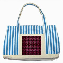 Woven1 Black Marble & Pink Brushed Metal (r) Striped Blue Tote Bag by trendistuff