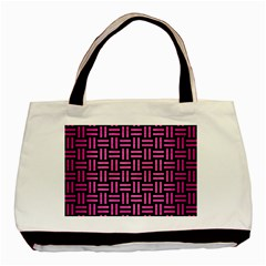 Woven1 Black Marble & Pink Brushed Metal (r) Basic Tote Bag (two Sides) by trendistuff