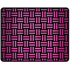 Woven1 Black Marble & Pink Brushed Metal (r) Fleece Blanket (medium)  by trendistuff