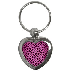 Woven2 Black Marble & Pink Brushed Metal Key Chains (heart)  by trendistuff