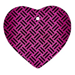 Woven2 Black Marble & Pink Brushed Metal Heart Ornament (two Sides) by trendistuff