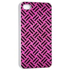 Woven2 Black Marble & Pink Brushed Metal Apple Iphone 4/4s Seamless Case (white) by trendistuff