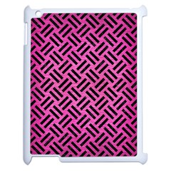 Woven2 Black Marble & Pink Brushed Metal Apple Ipad 2 Case (white) by trendistuff