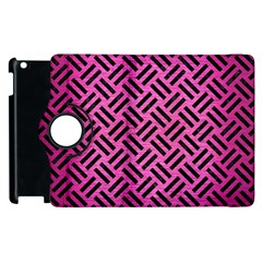 Woven2 Black Marble & Pink Brushed Metal Apple Ipad 3/4 Flip 360 Case by trendistuff