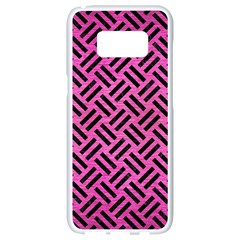 Woven2 Black Marble & Pink Brushed Metal Samsung Galaxy S8 White Seamless Case by trendistuff