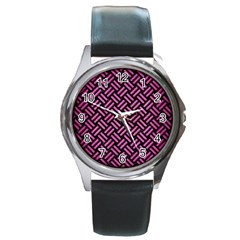 Woven2 Black Marble & Pink Brushed Metal (r) Round Metal Watch by trendistuff