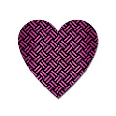 Woven2 Black Marble & Pink Brushed Metal (r) Heart Magnet by trendistuff