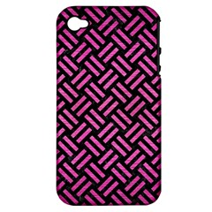 Woven2 Black Marble & Pink Brushed Metal (r) Apple Iphone 4/4s Hardshell Case (pc+silicone) by trendistuff