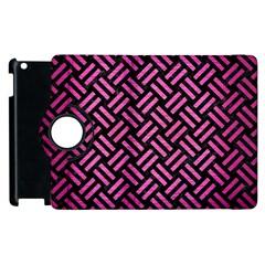 Woven2 Black Marble & Pink Brushed Metal (r) Apple Ipad 2 Flip 360 Case by trendistuff