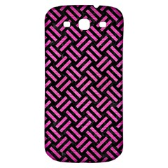 Woven2 Black Marble & Pink Brushed Metal (r) Samsung Galaxy S3 S Iii Classic Hardshell Back Case by trendistuff
